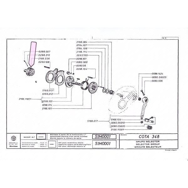 Montesa 247 348 349 Gear selection lock support