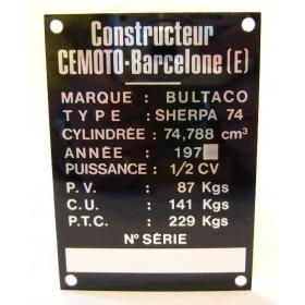 BULTACO Sherpa 74 plaque d'identification aluminium