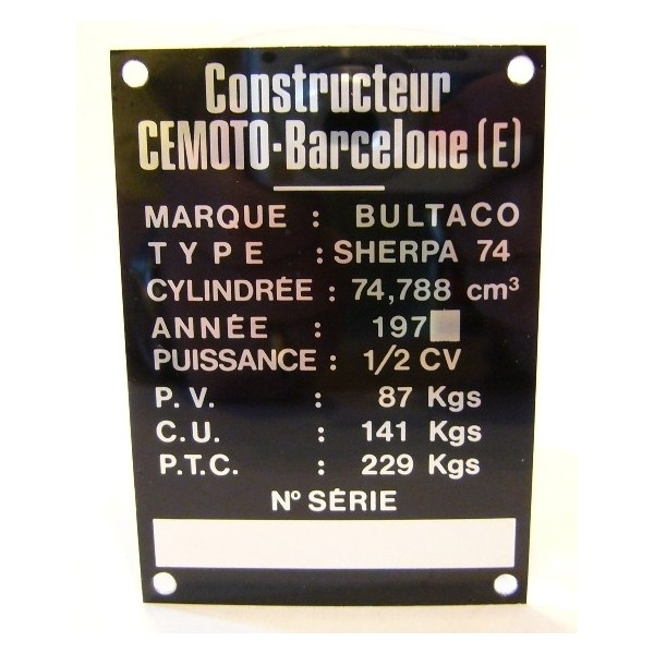 BULTACO Sherpa 74 Frame identification plate