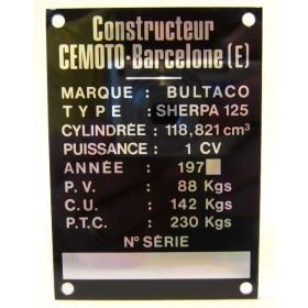 BULTACO Sherpa 125 Frame identification plate