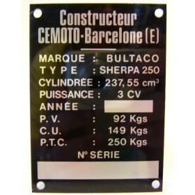 BULTACO Sherpa 250 Frame identification plate