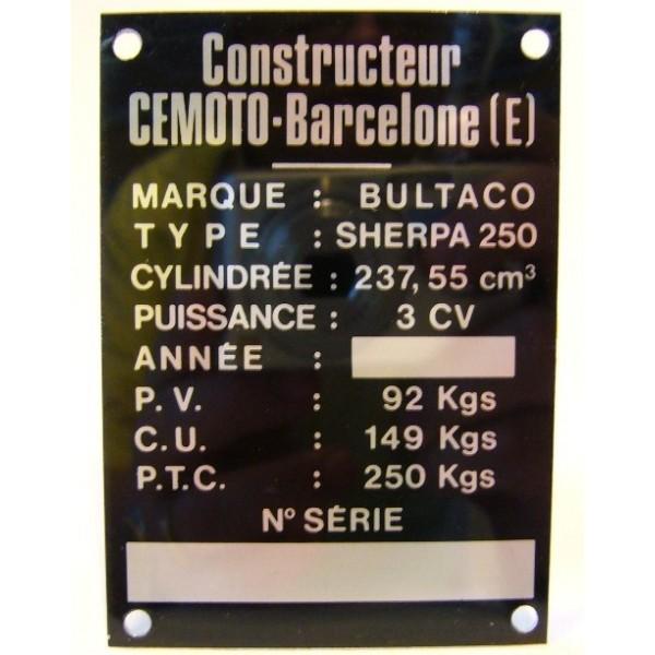 BULTACO Sherpa 125 plaque d'identification aluminium
