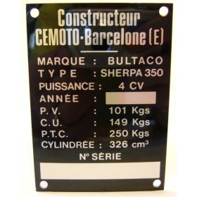 BULTACO Sherpa 350 Frame identification plate