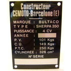 BULTACO Sherpa 250 plaque d'identification aluminium