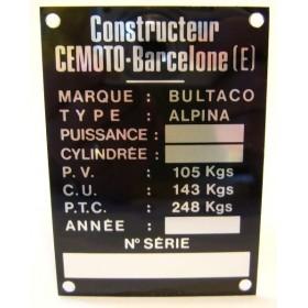 BULTACO Alpina Frame identification plate