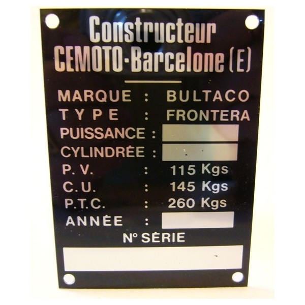 BULTACO Frontera Frame identification plate