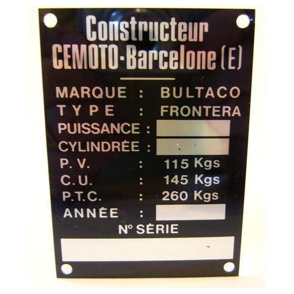 BULTACO Alpina plaque d'identification aluminium