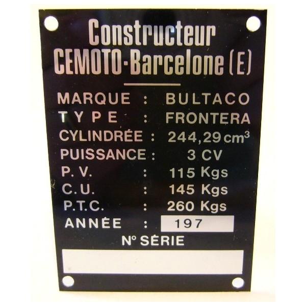 BULTACO Frontera plaque d'identification aluminium