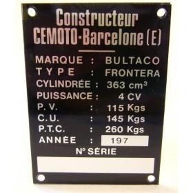 BULTACO Frontera 350 plaque d'identification aluminium