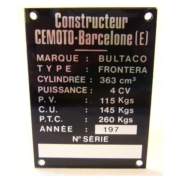 BULTACO Frontera 250 plaque d'identification aluminium