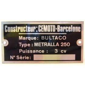 BULTACO Metralla 250 plaque d'identification aluminium