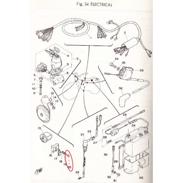 Yamaha TY 50 to 250 bi & mono Rectifying diode fixing screw