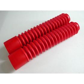 Paire de soufflets de fourche rouges TUbes 35mm. longueur 32cm
