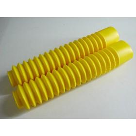 Paire de soufflets de fourche jaunes Tubes 35mm. longueur 32cm