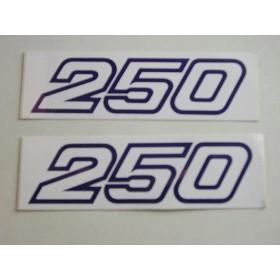 Yamaha 250 mono-amortisseur paire d'autocollants originaux (12X3.6cm)